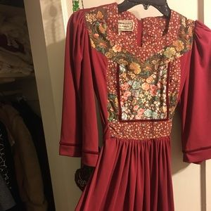 Vintage 70s young edwardian arpeja peasant dress